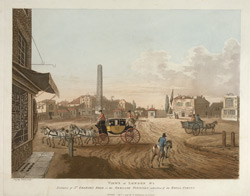 Views of London No.2 Entrance of St Georges Road or the Obelisk Turnpike with a View of Royal Circus